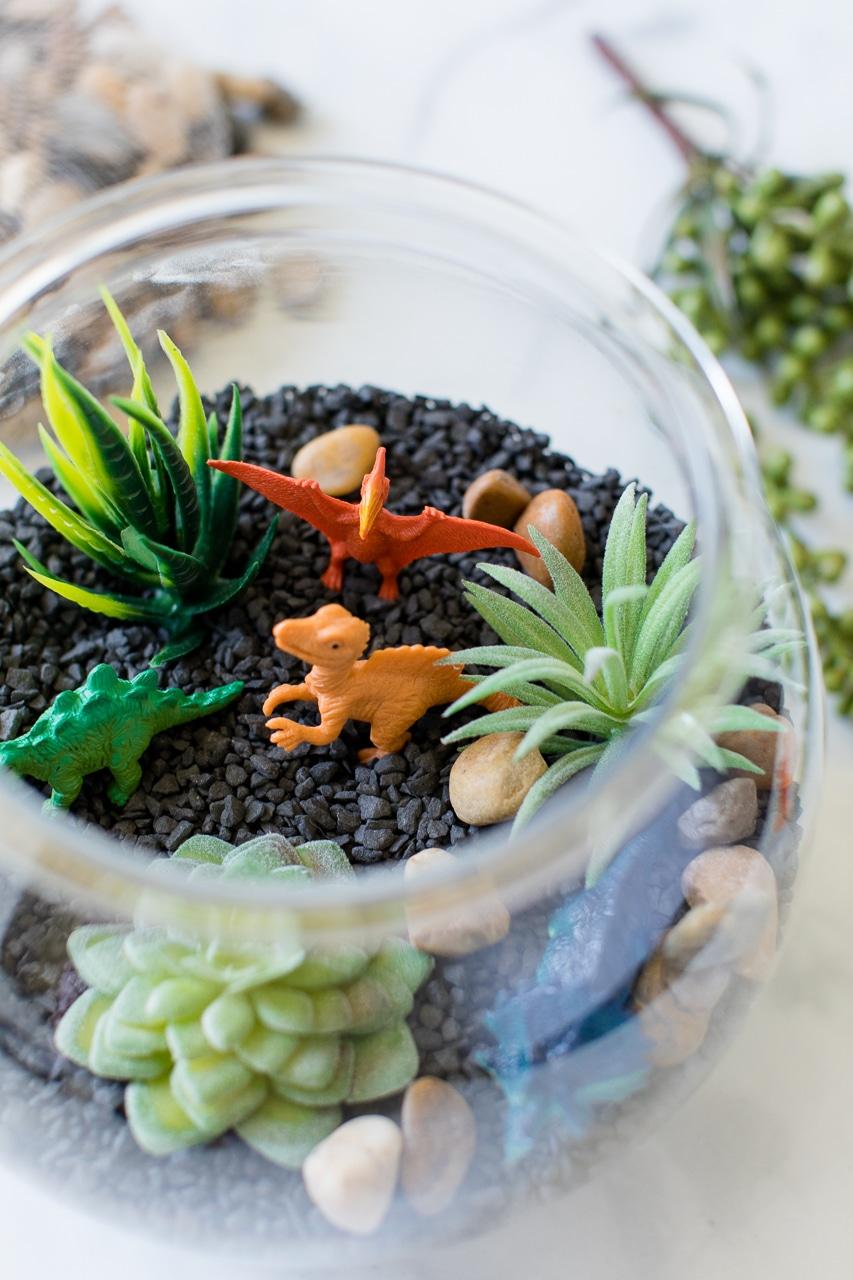 plastic dinosaurs in terrarium