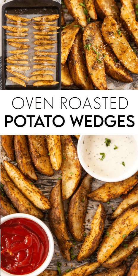 Oven Roasted Potato Wedges are a delicious and simple potato side dish that is flavorful, tasty, and pairs perfectly with your favorite protein.