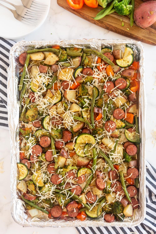 Sheet Pan Sausage & Veggies on Sheet pan