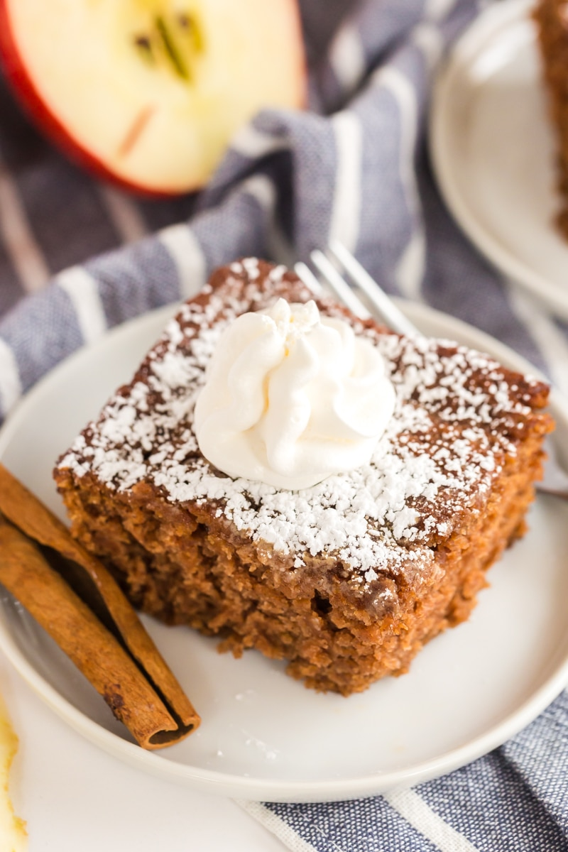 applesauce spice cake served with dollop of Cool Whip