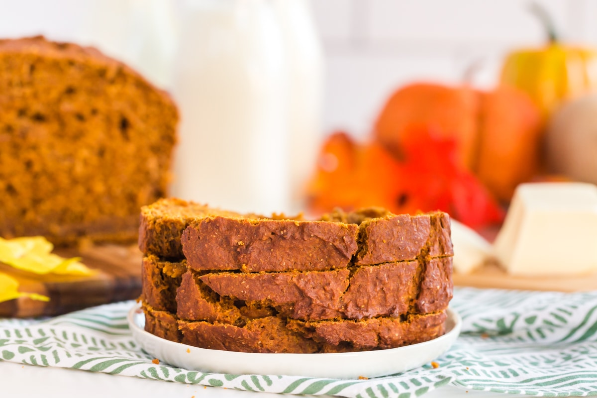 slices of pumpkin bread stacked