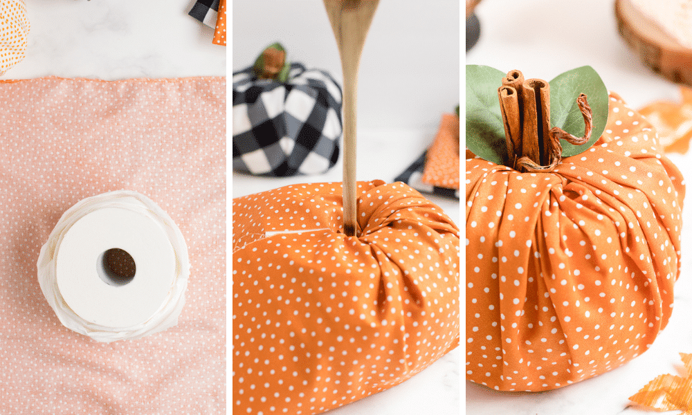steps to make pumpkin craft- insert fabric in toilet paper hole