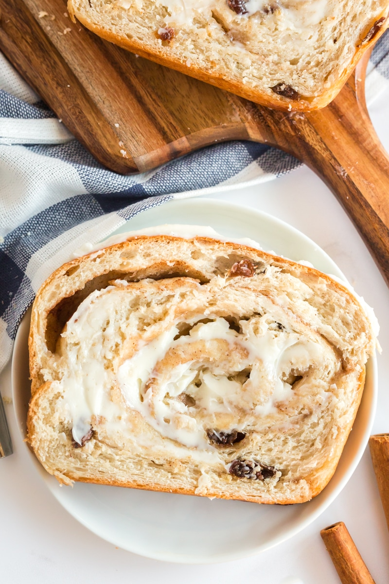 cinnamon raising bread with butter on slice