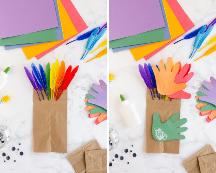 add feathers and paper handprints in opposite rainbow order to back of paper bag