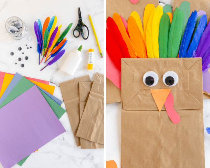 supplies needed for turkey craft- paper, paper bag, googly eyes, feathers, glue