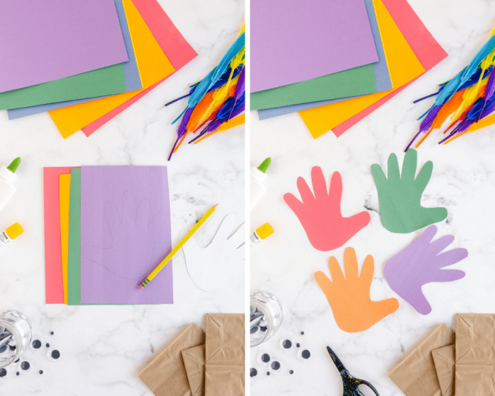 trace and cut colorful handprints