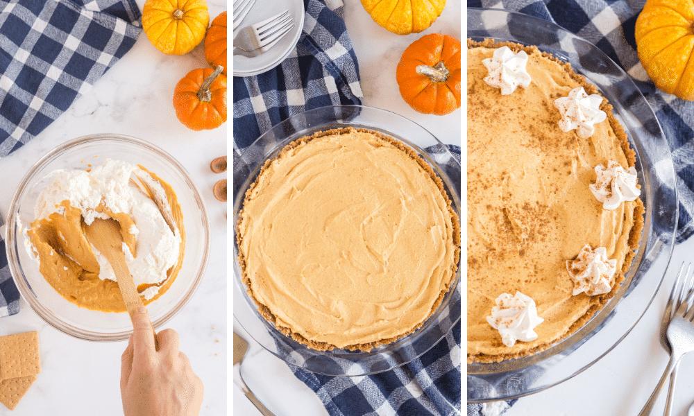 add pumpkin filling to homemade graham cracker crust