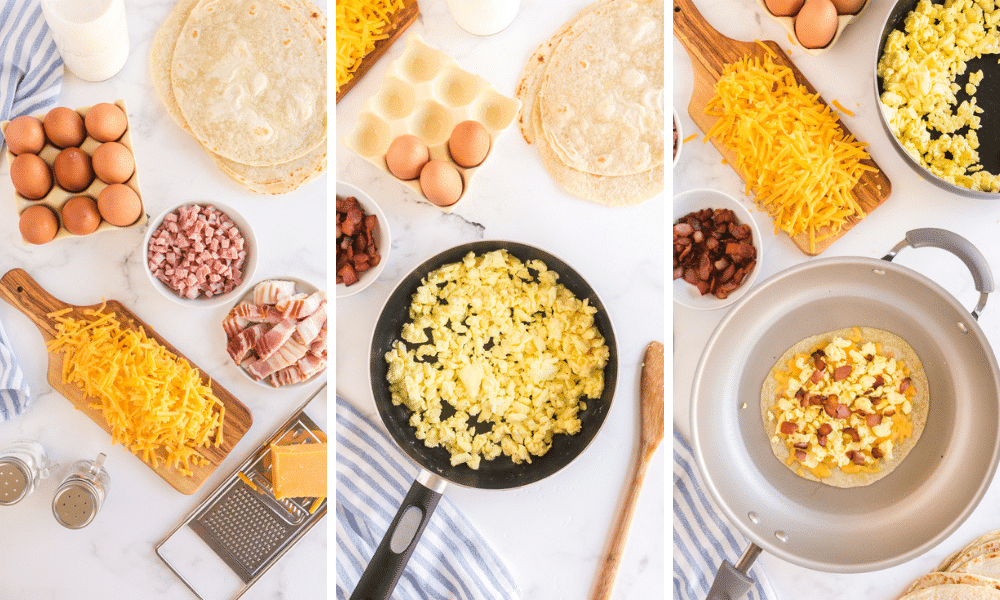 process to make breakfast quesadilla