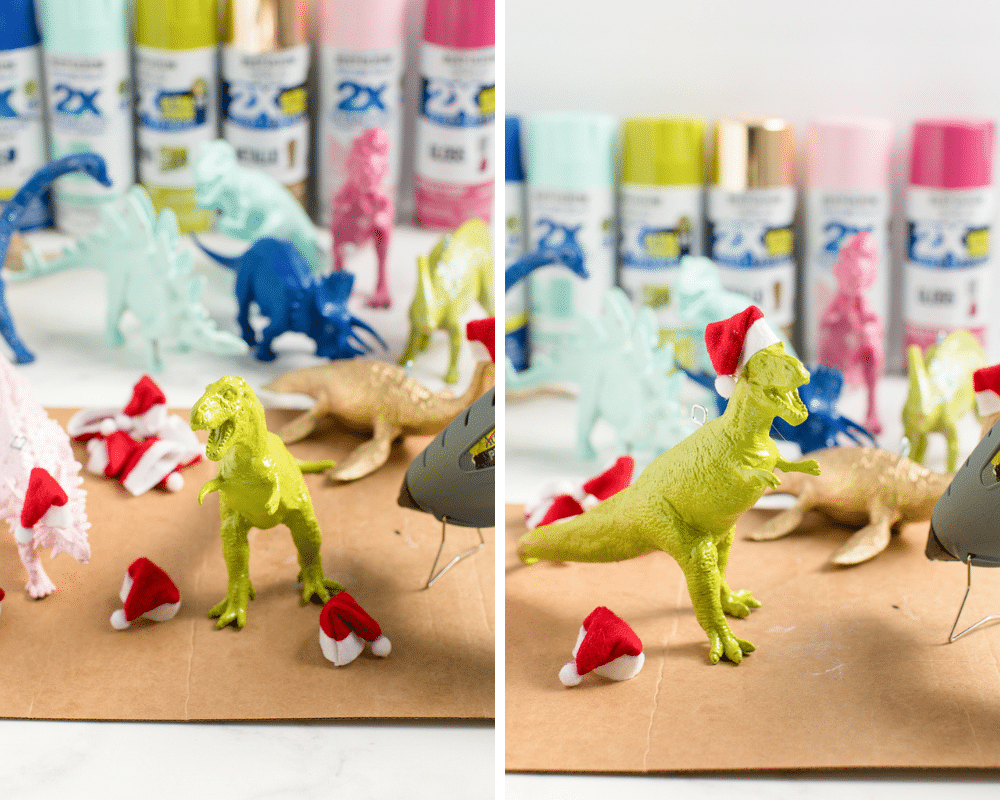 add santa hat to painted dinosaur