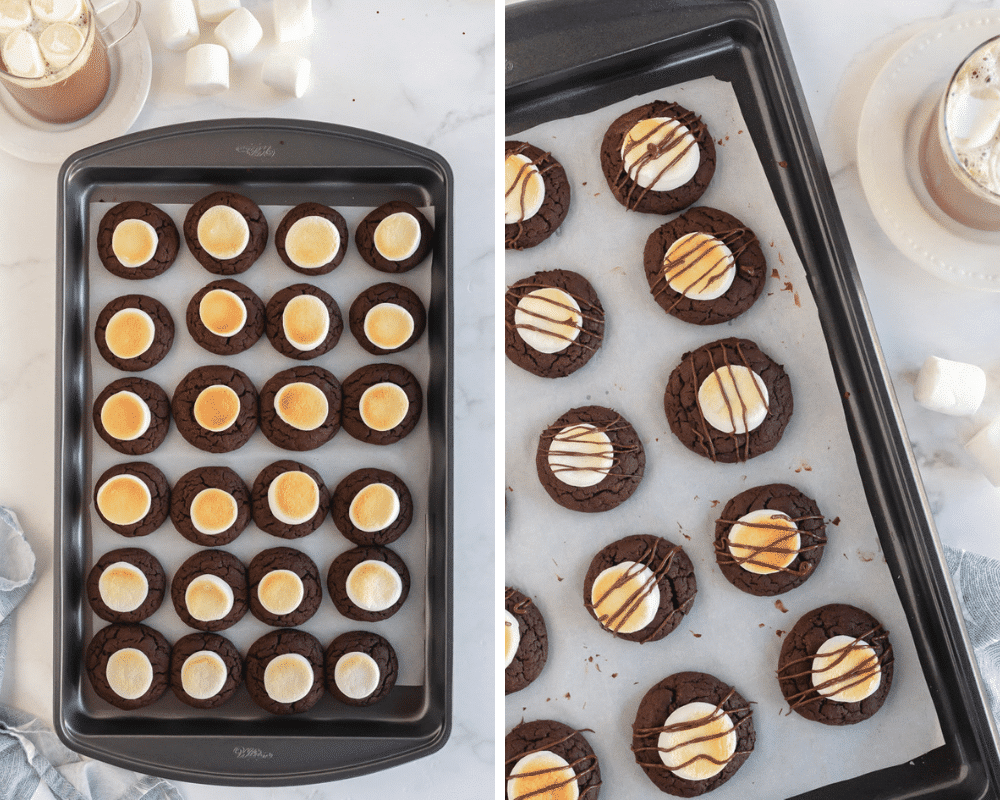 golden broiled marshmallows with a chocolate drizzle added