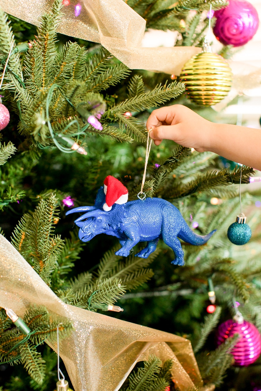 santa hat dinosaur ornament