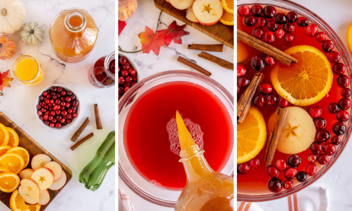 pour cranberry juice, orange juice, apple cider and cinnamon sticks in large punch bowl