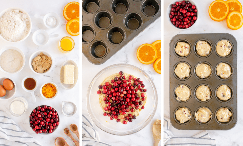 cranberry orange ingredients, cranberries mixed in muffin batter, batter placed in muffin tin