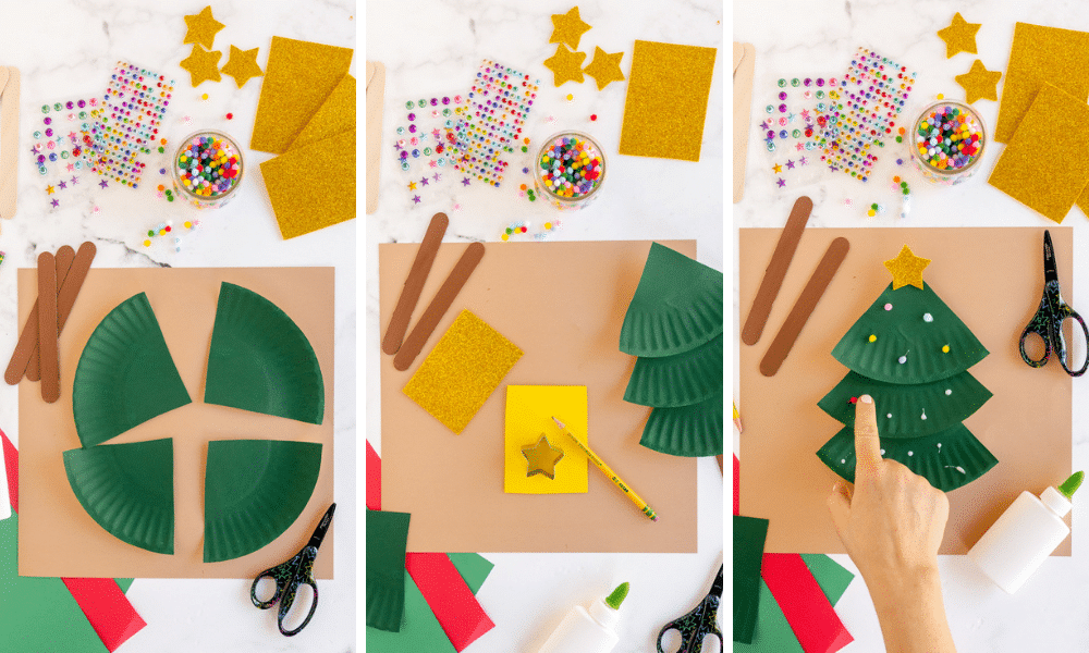 paint paper plate, cut into fourths, glue in tree shape and decorate
