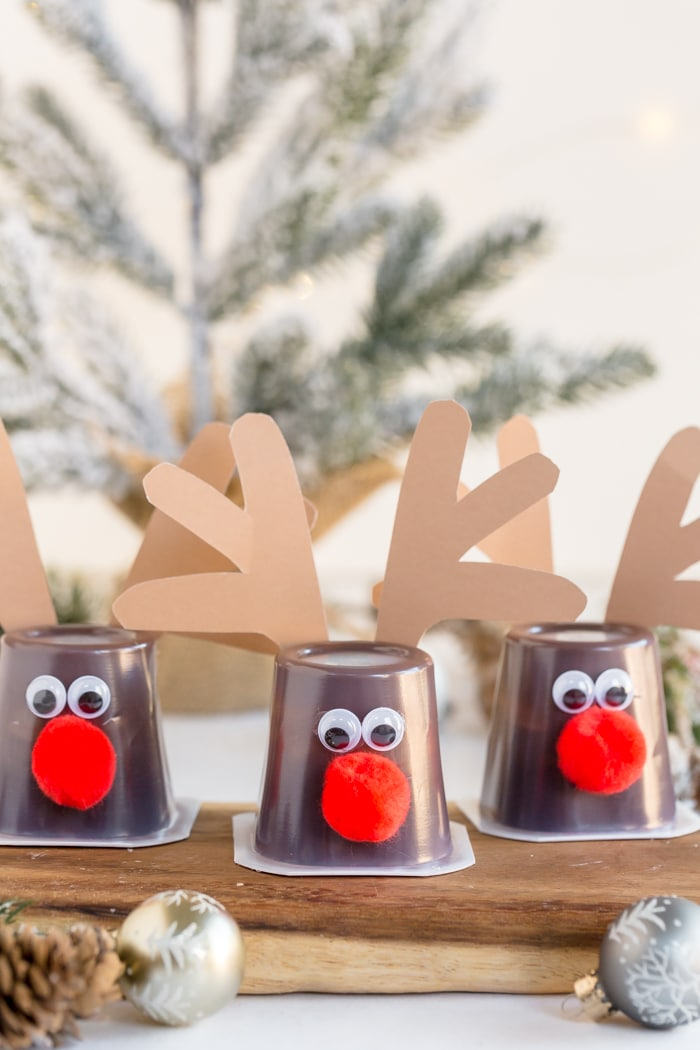 completely reindeer cups on decorative wood counter