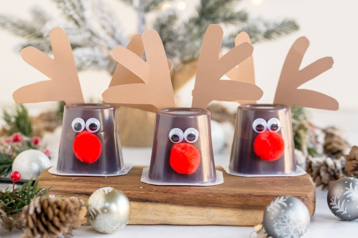 three completed reindeer cups with red noses