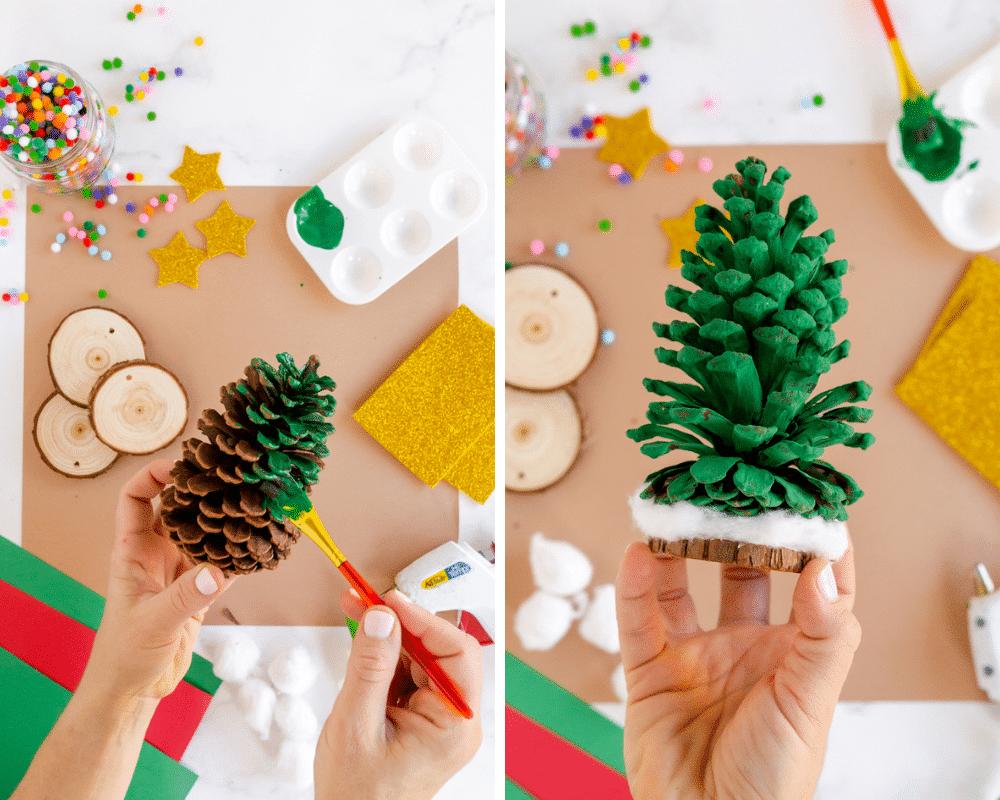 paint pinecone green, glue on wood slice, add cotton ball snow