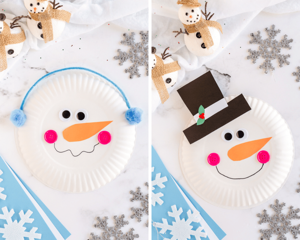 paper plate snowman with ear muffs and second version with paper top hat