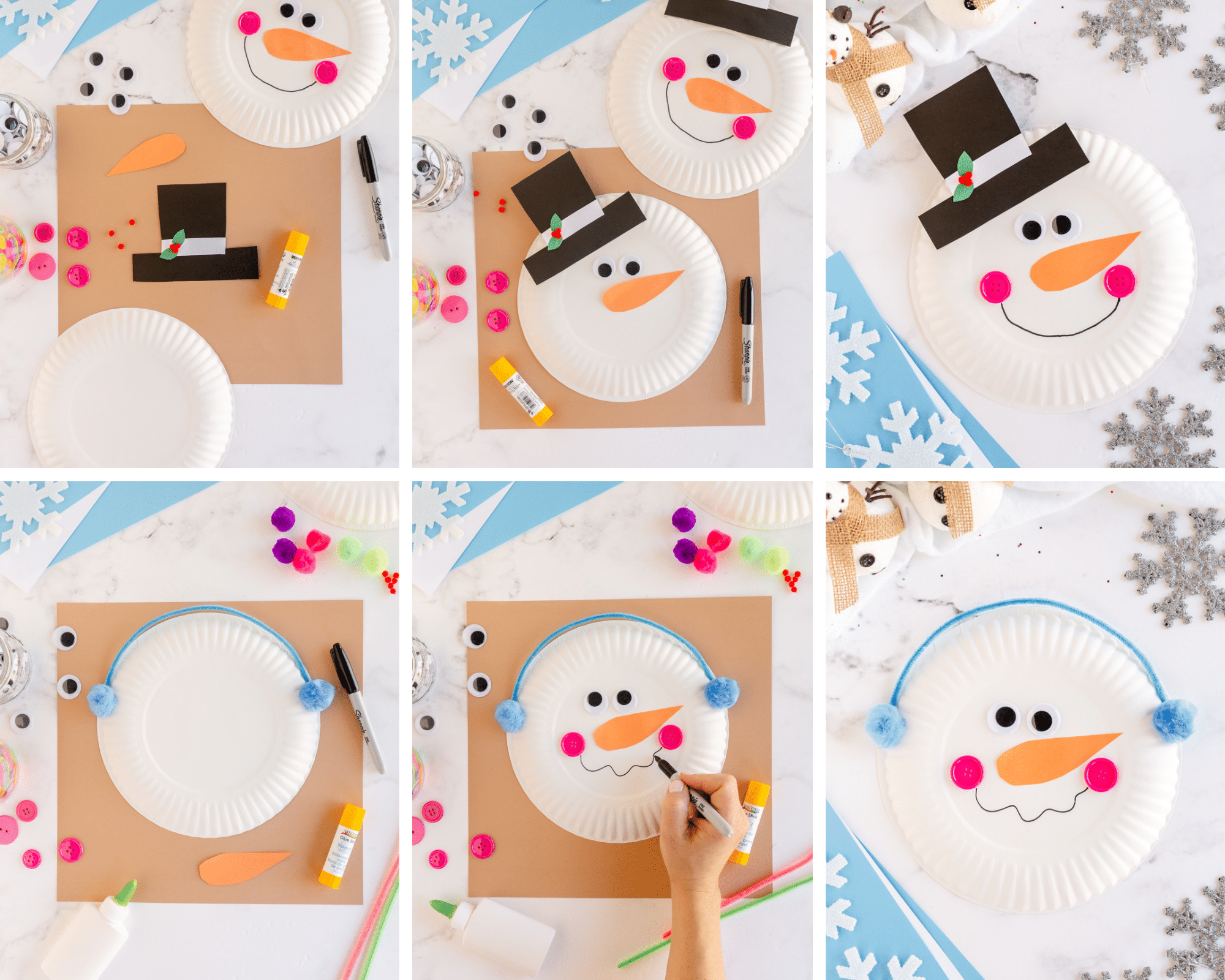 steps to make paper plate snowman, make top hat- add googley eyes- add nose and smile