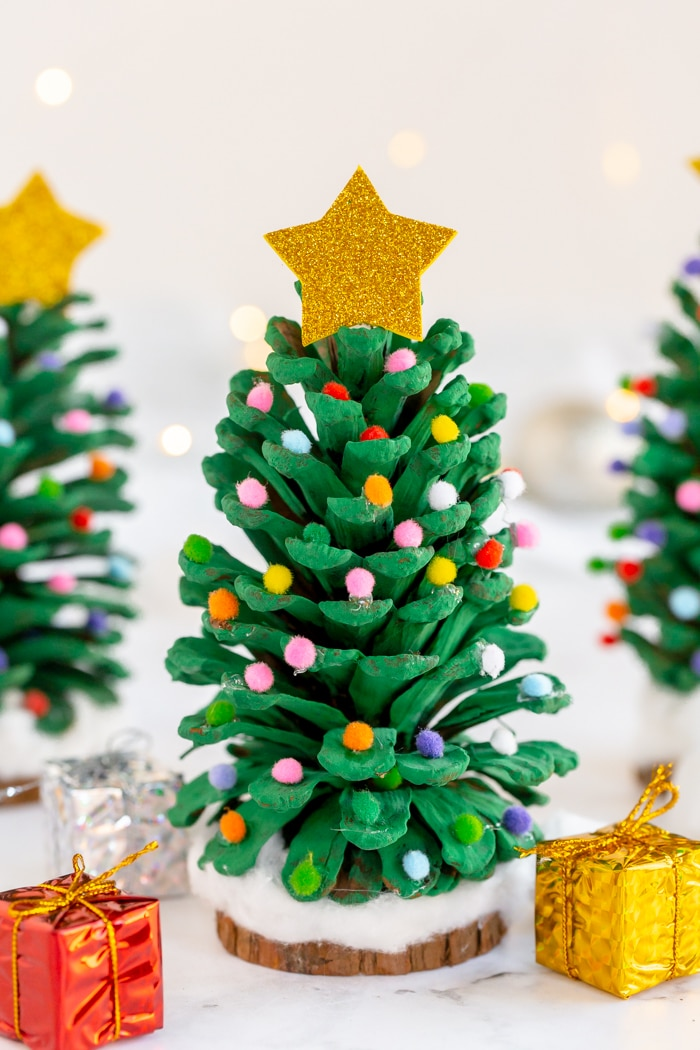 Pinecone Christmas Tree with colorful pom poms