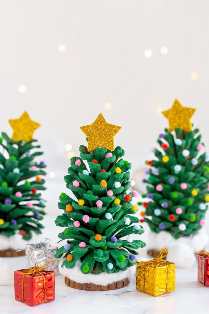 Three Christmas Pinecone trees