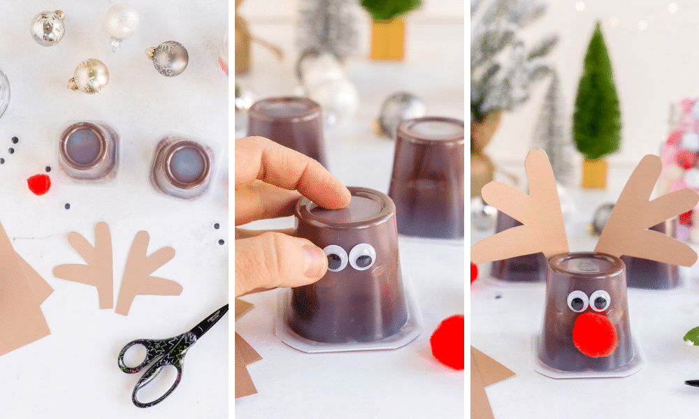 cut out paper antlers, glue to pudding cup, add googly eyes and red pom pom