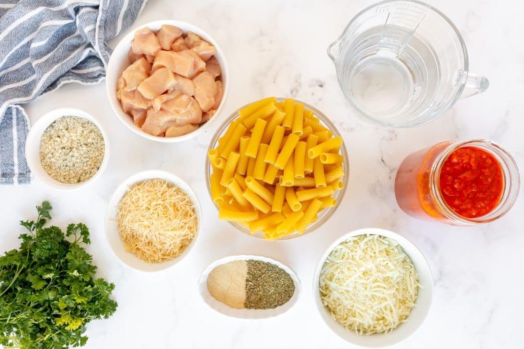 ingredients for chicken parmesan pasta