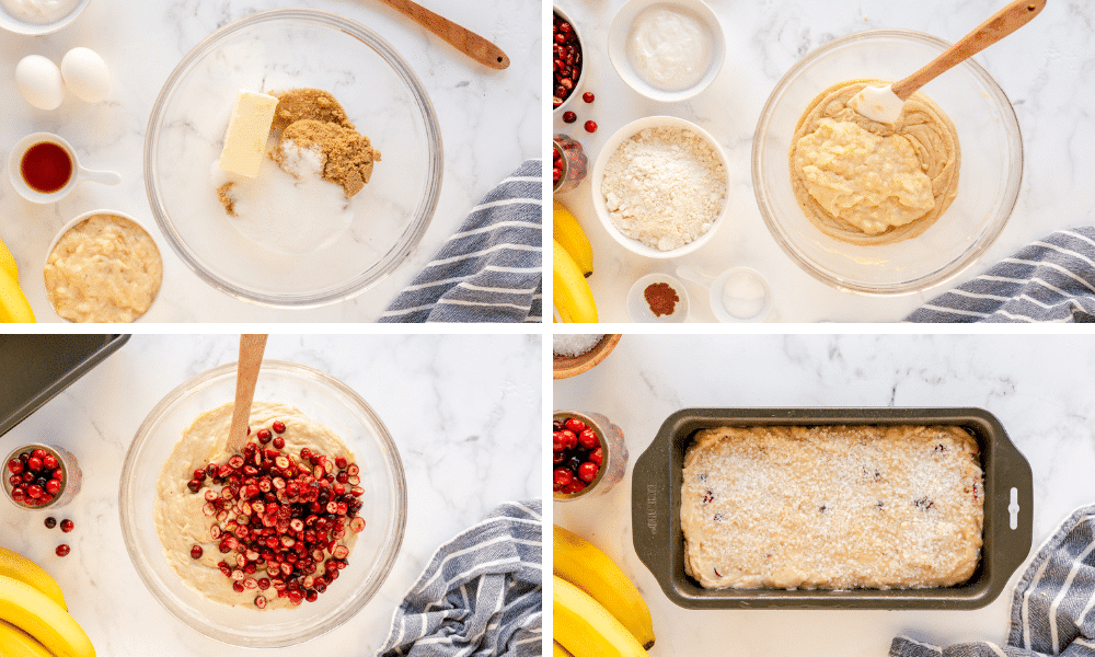 process to make cranberry bread with bananas