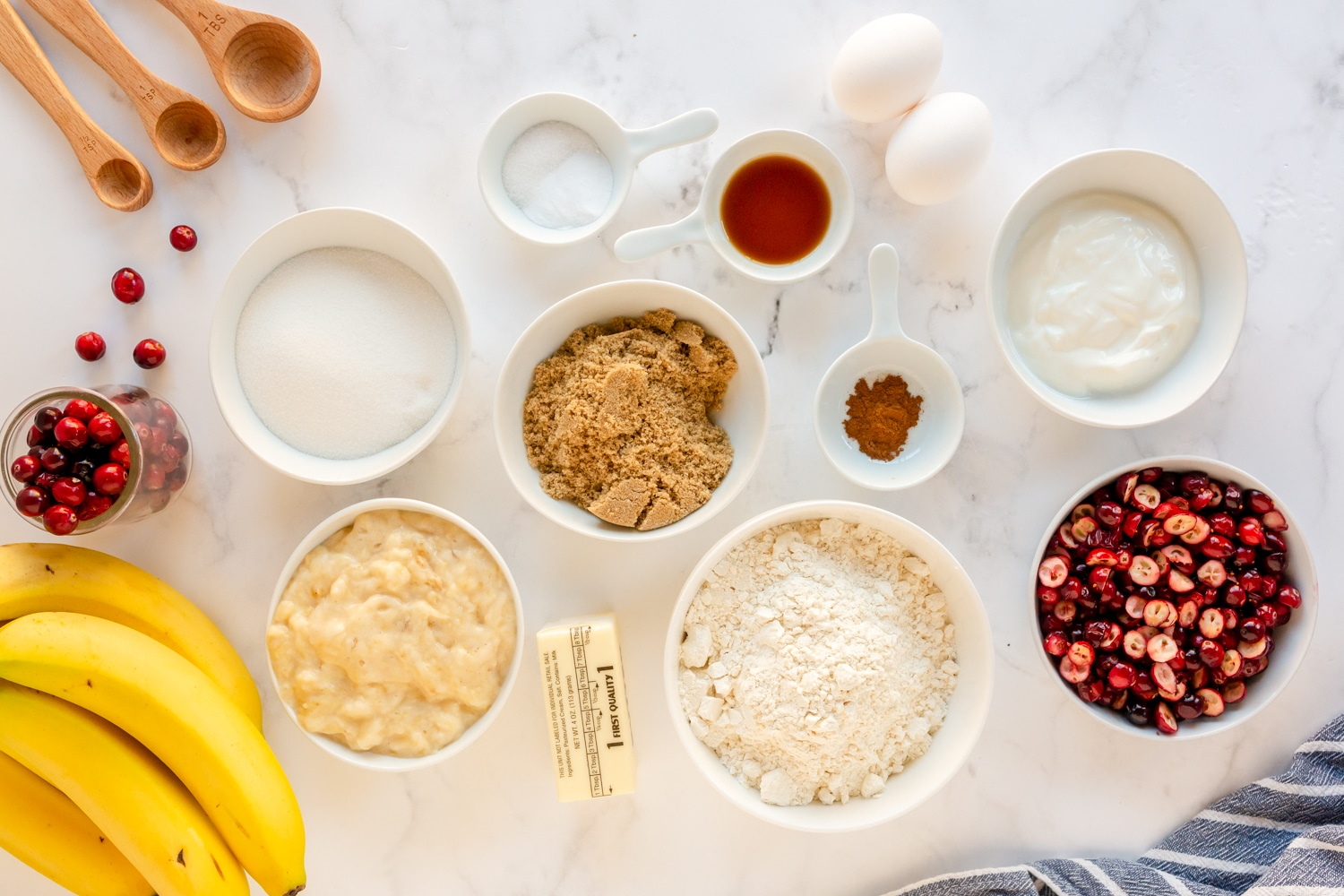 ingredients for cranberry banana bread