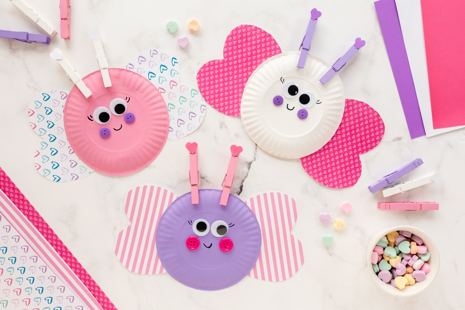 Paper Plate Love Bugs on table