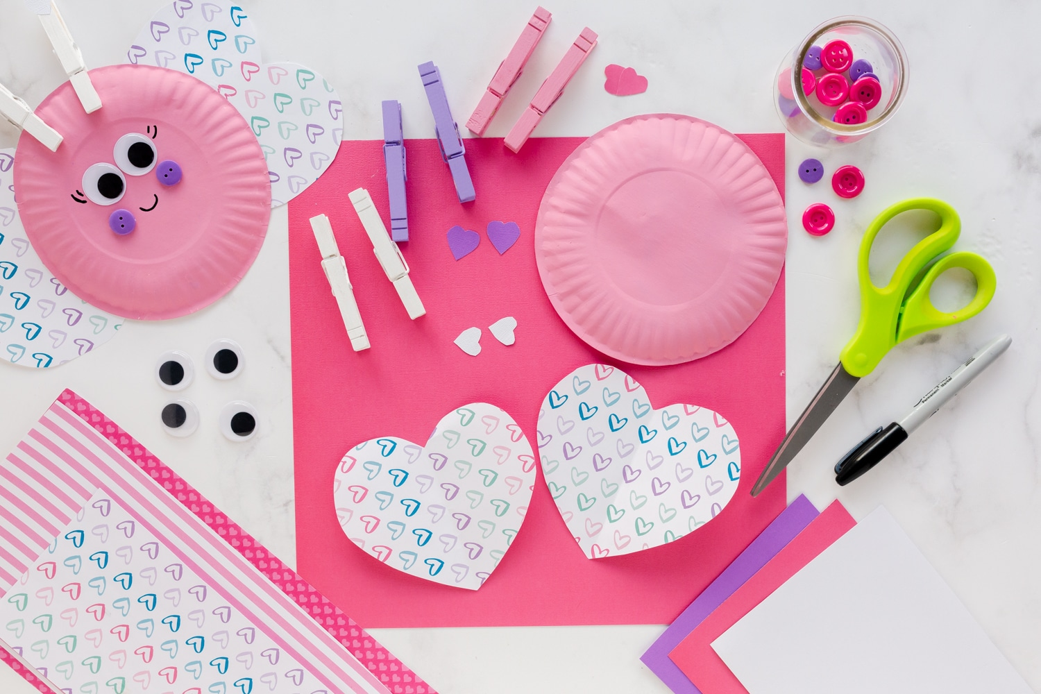 painted paper plates, scrapbooking paper hearts
