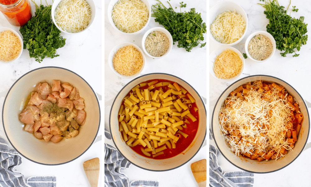 chicken and pasta ingredients in dutch oven