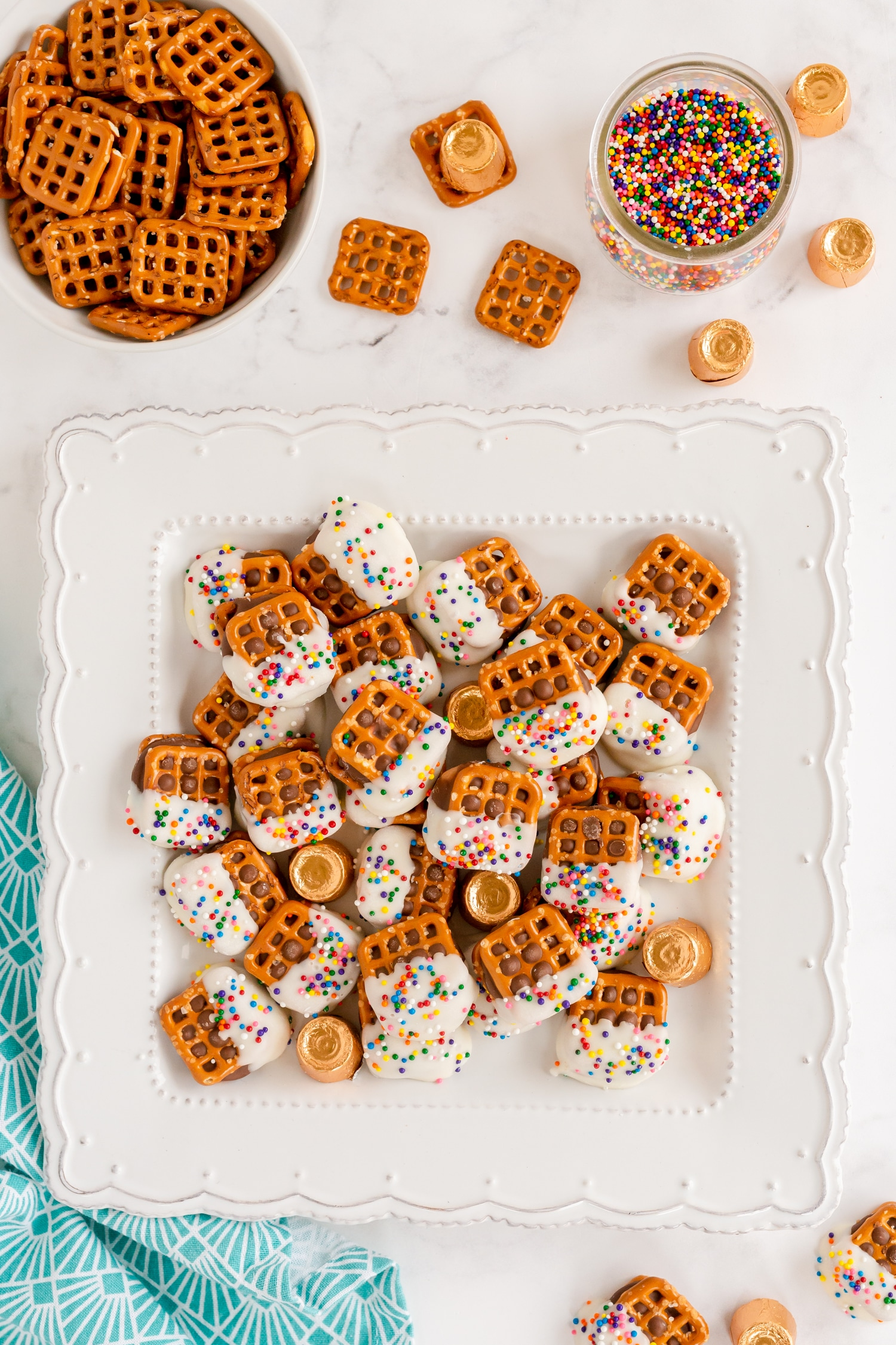 These Rolo Pretzel Bites are such an easy and delicious treat with few ingredients and a pop of colorful sprinkles!