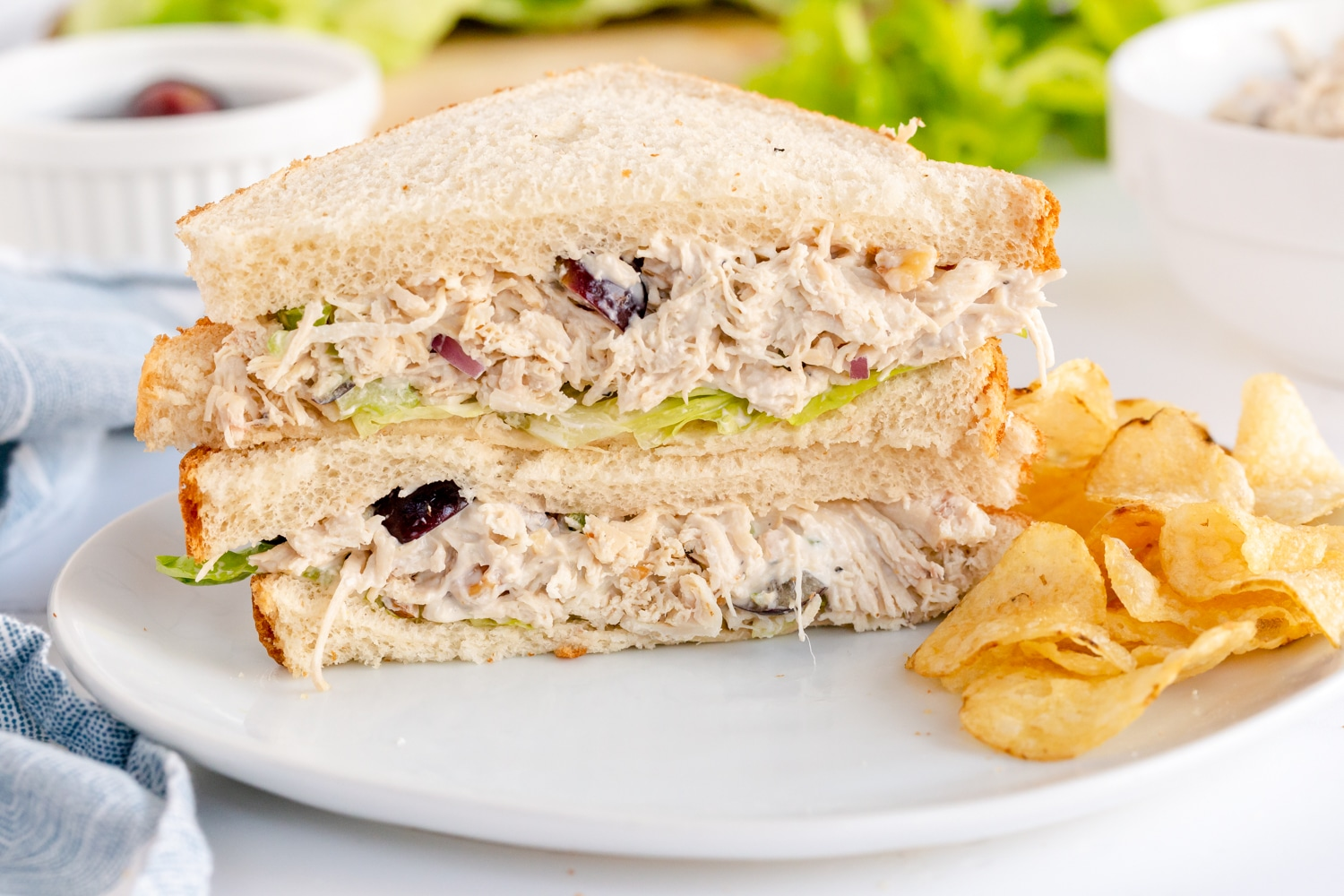 classic chicken salad recipe on white bread