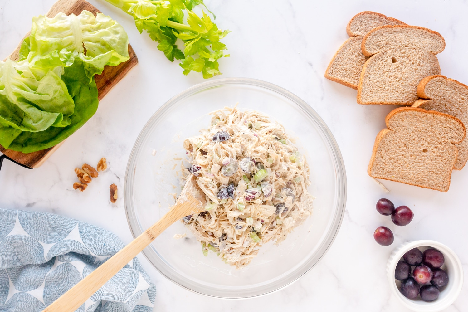 mix together chicken salad with mayo dressing
