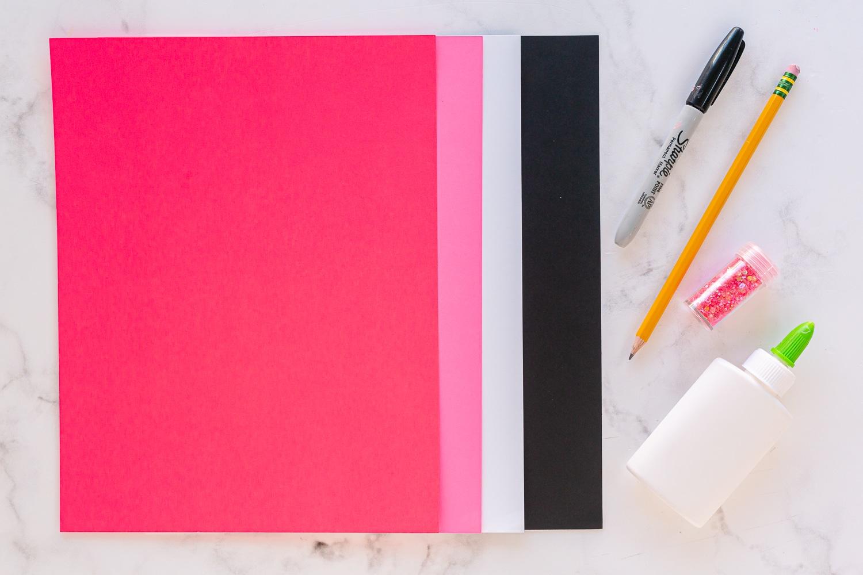 supplies needed for flamingo handprint craft