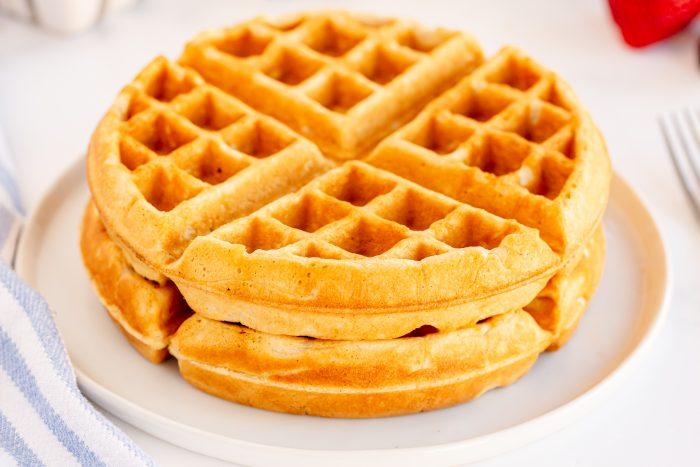 homemade waffle on white plate