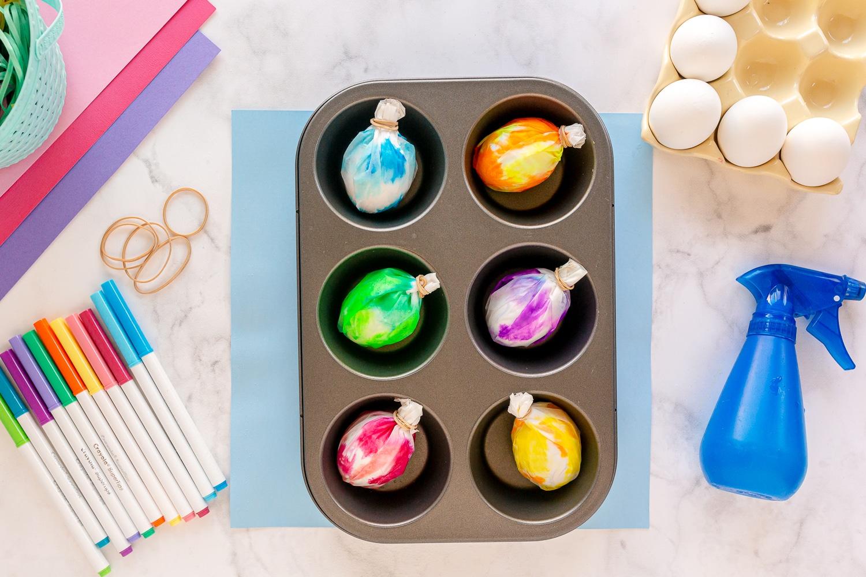 sprayed eggs in cupcake tin