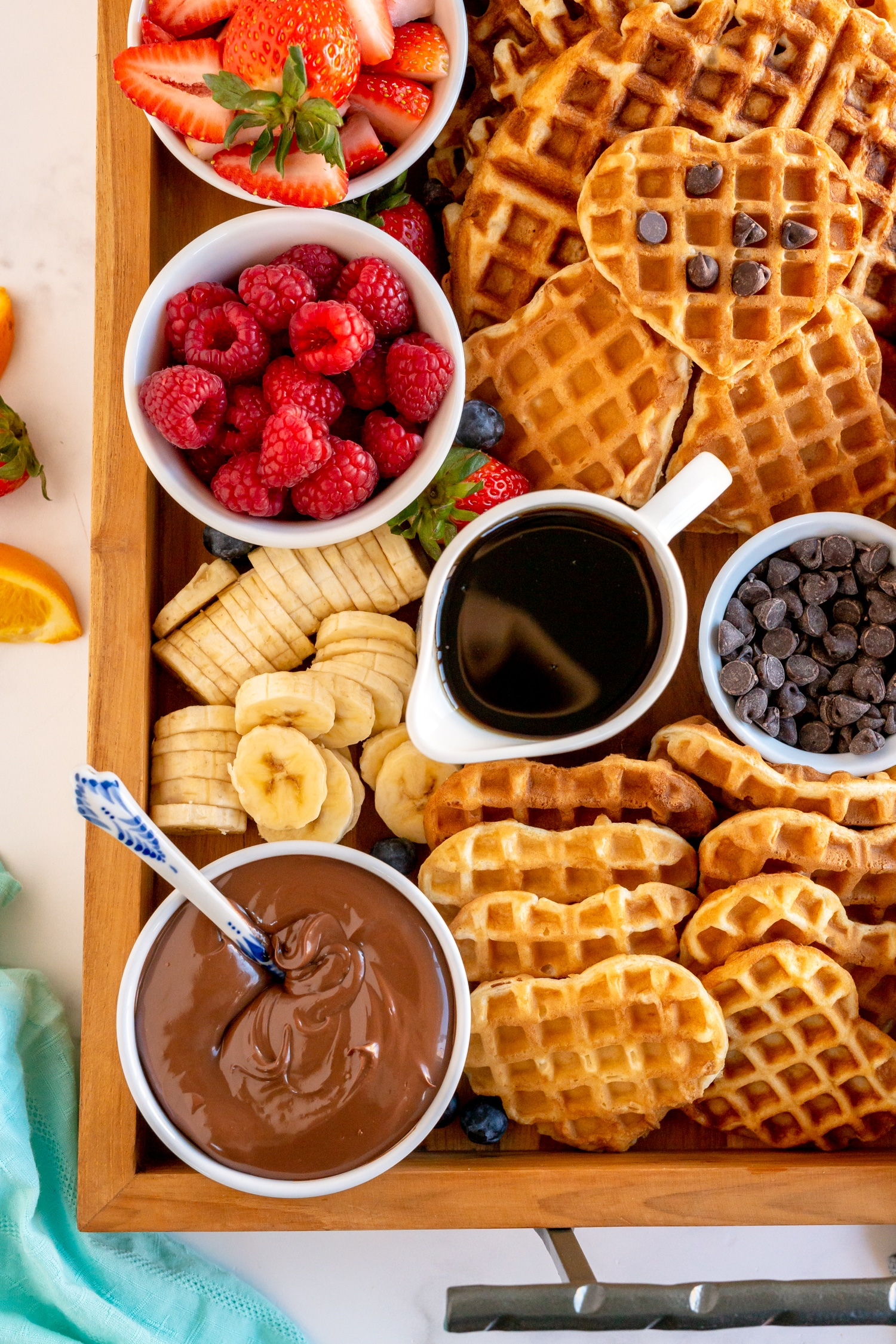 waffle board with toppings