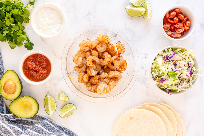 shrimp taco ingredients: shrimp, tortillas, oil, taco seasoning