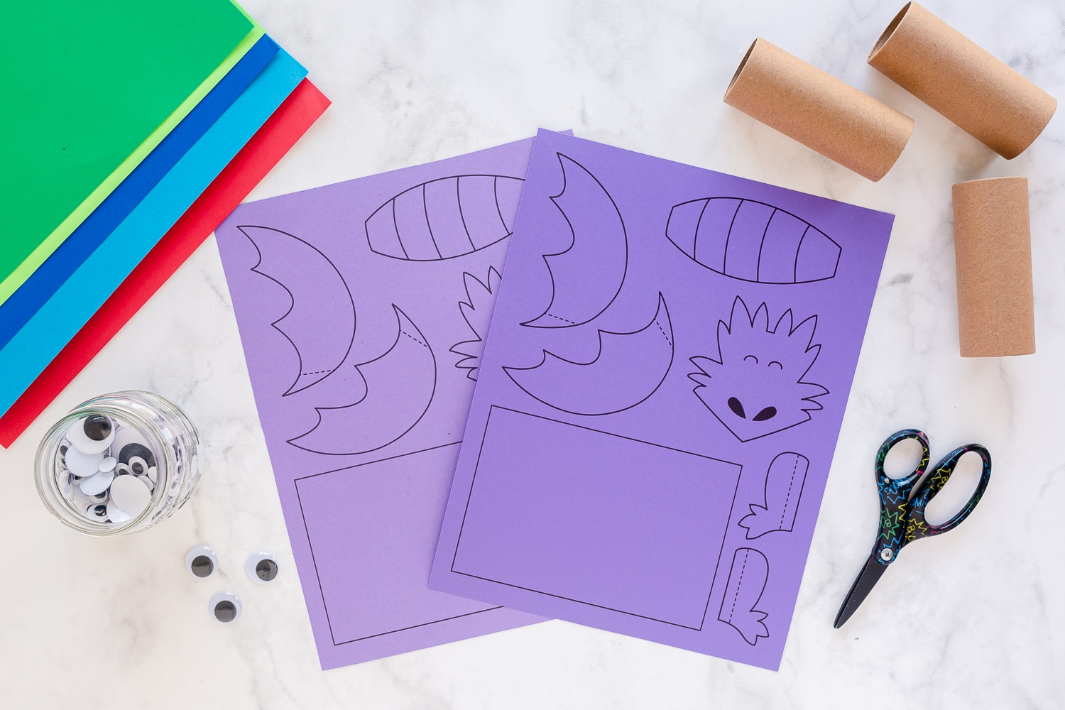 paper roll dragon printable printed on purple paper