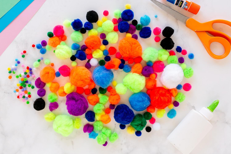 colorful pom poms craft supply