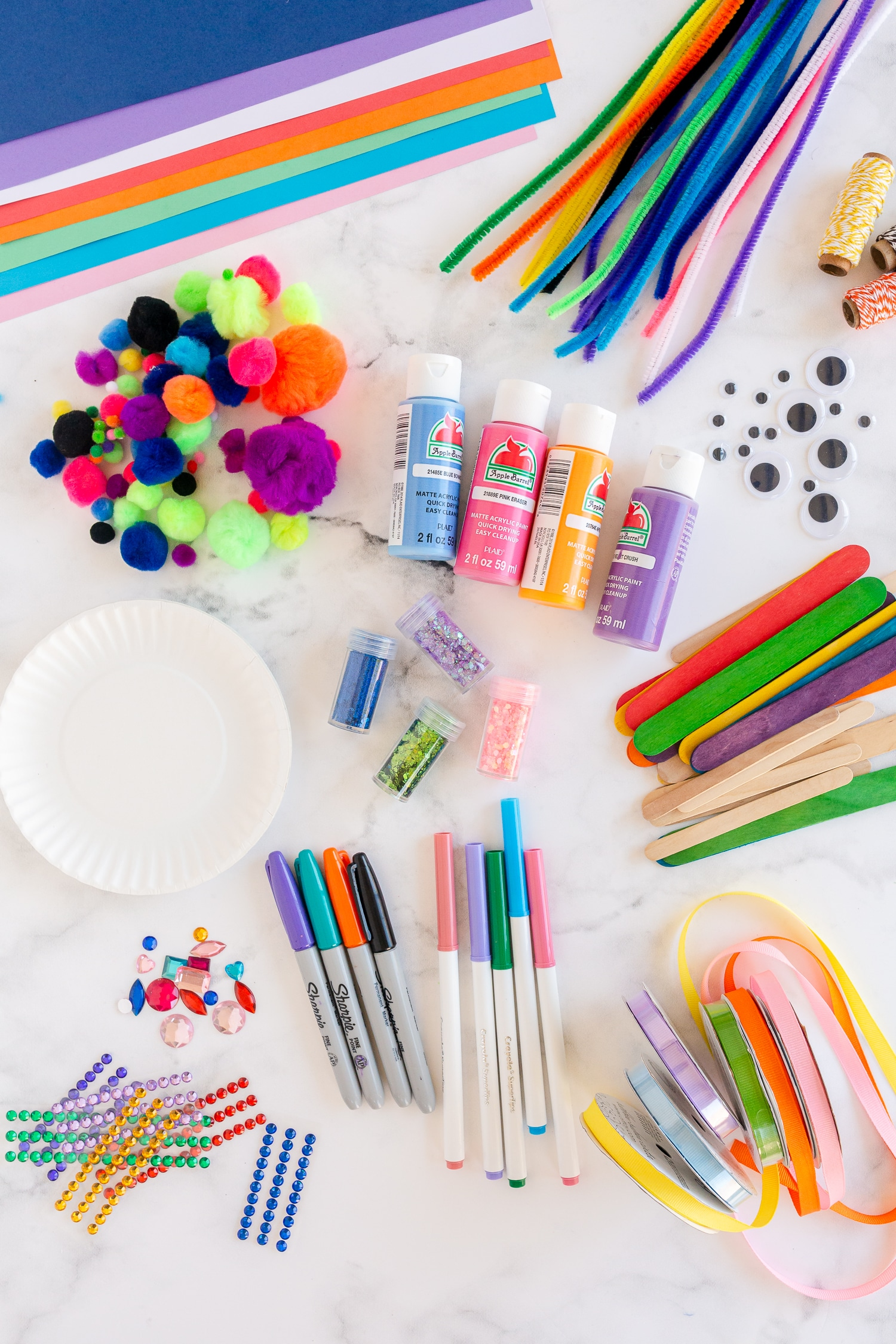 craft supplies on counter