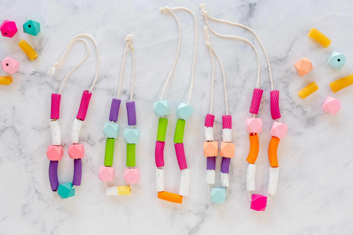 painted pasta necklaces