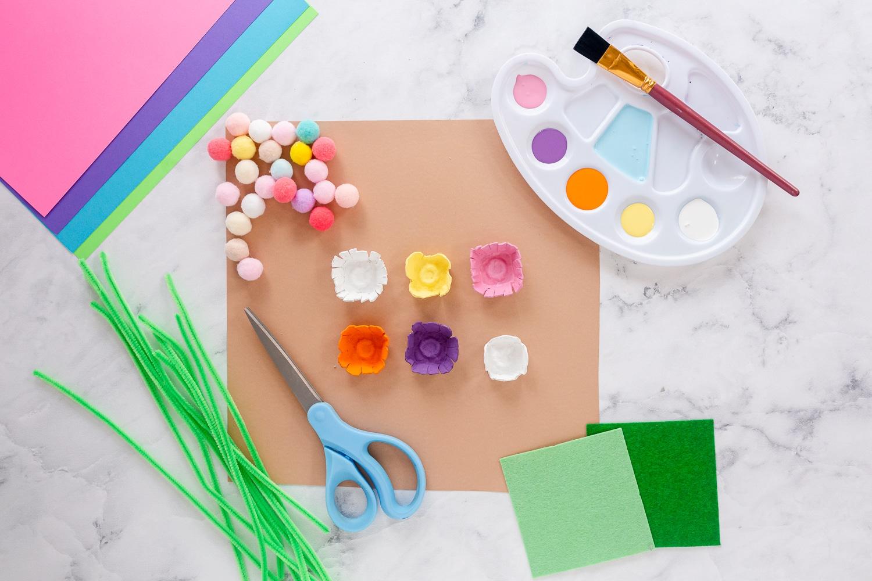 cardboard flowers painted in summer colors