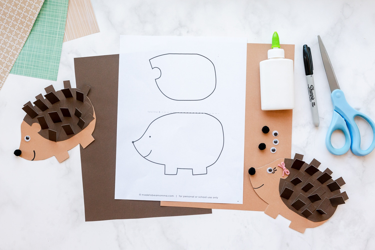 supplies needed for hedgehog card
