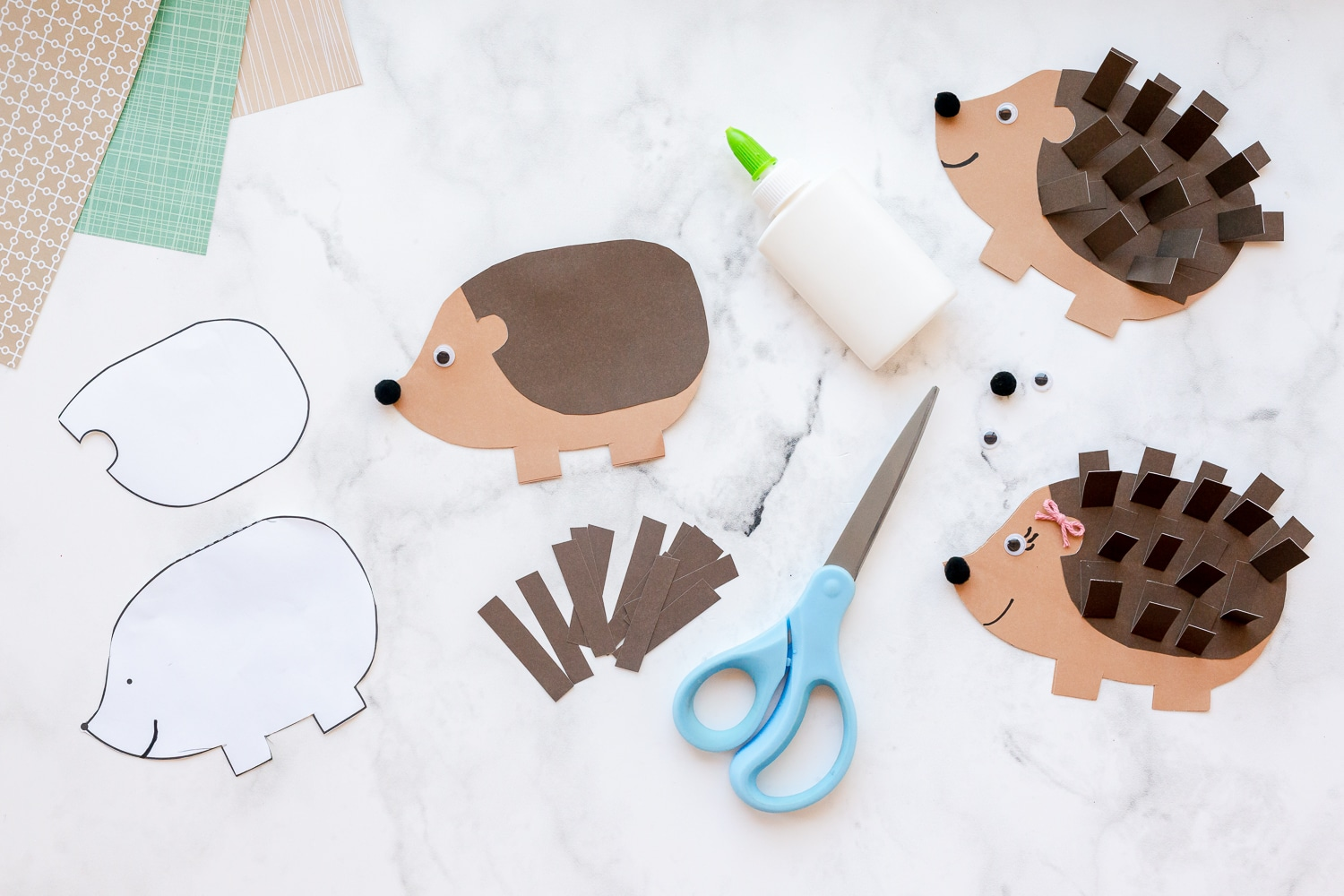 cut out hedgehog template pieces and glue together
