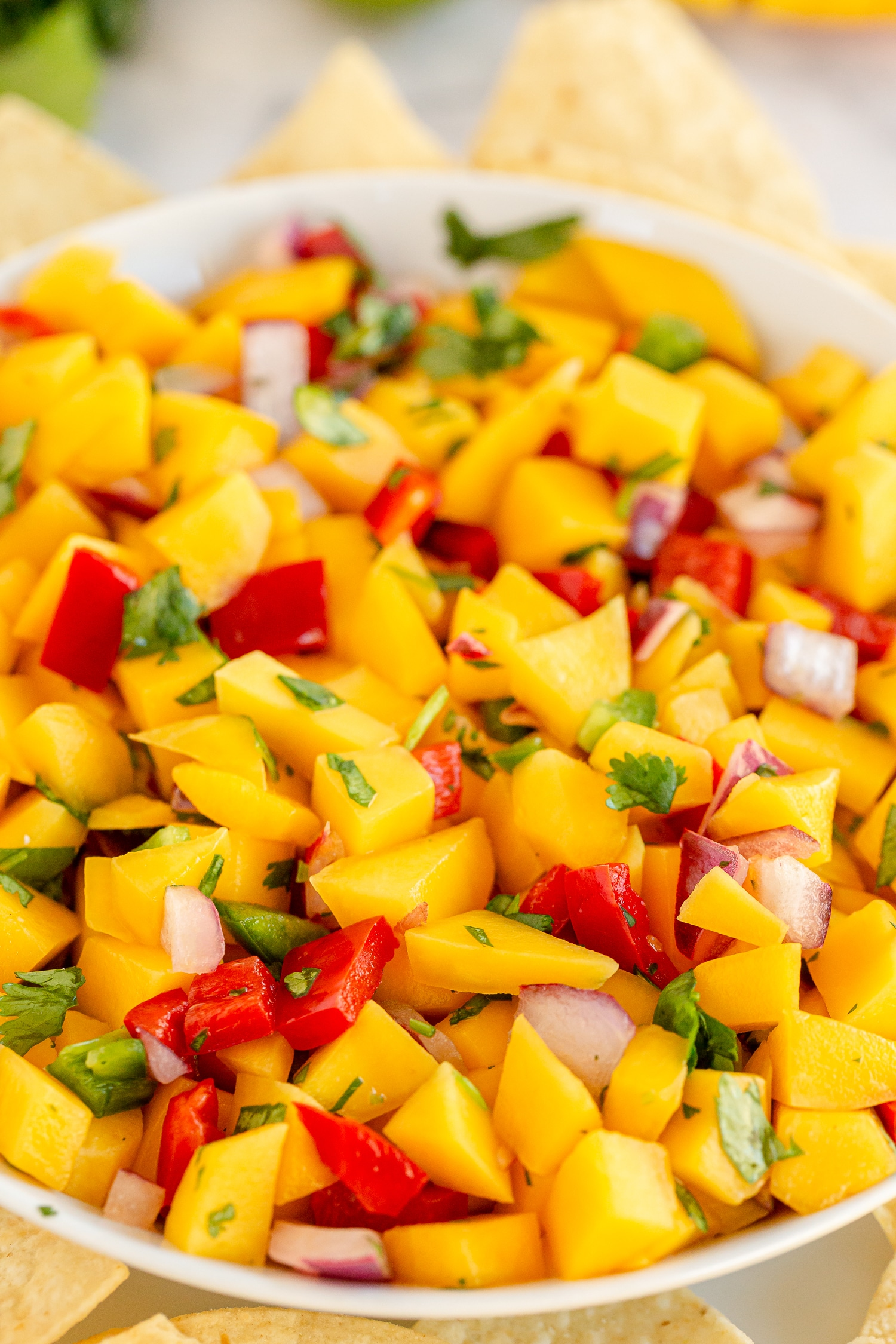 mango salsa in serving bowl with tortilla chips
