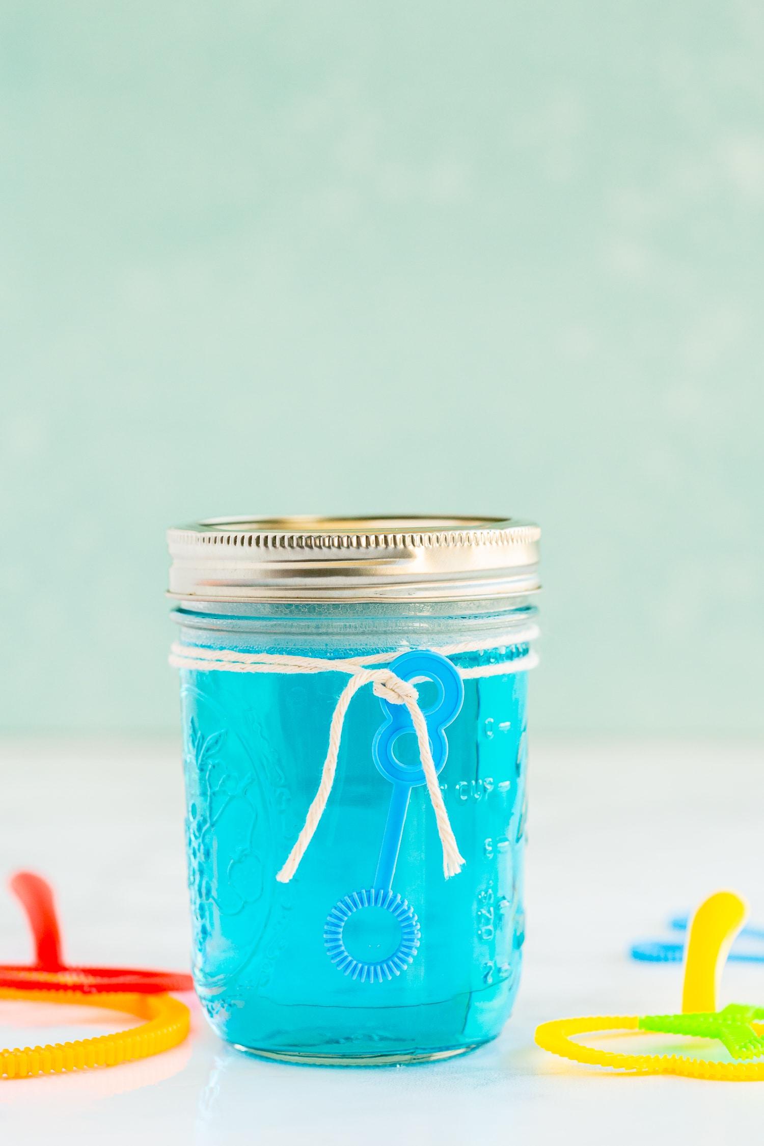 bubble wand solution in mason jar