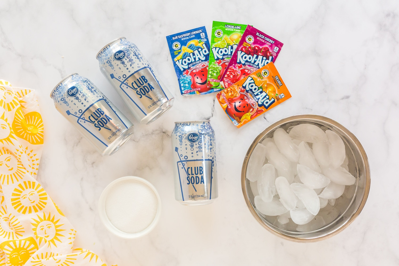 ingredients needed: cub soda, ice, sugar and Kool-aid packets